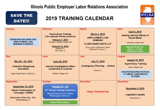 2019 IPELRA Training Calendar - one training program shown each month, page laid out like a grid